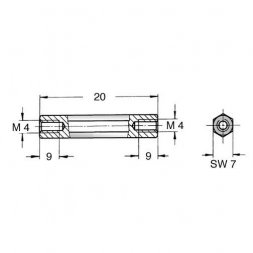DI7 M4x20 VARIOUS Metal Standoffs