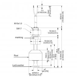 LS02-1A66-PP-500W STANDEX-MEDER Level Sensor 1a 0,5A/200V 10W vertically,water,dilute acids