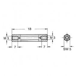 DI5 M3x18 VARIOUS Metal Standoffs